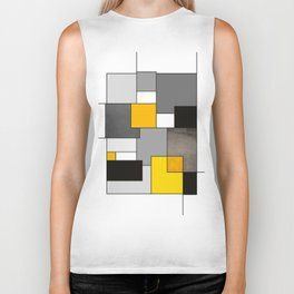 Black Yellow and Gray Geometric Art Biker Tank
