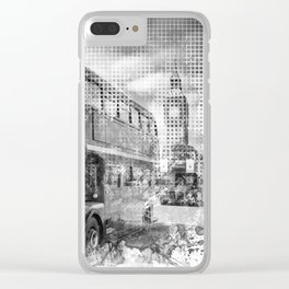 Graphic Art LONDON WESTMINSTER Buses | Monochrome Clear iPhone Case