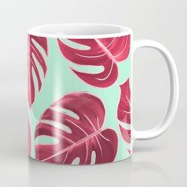 Modern Mint Blue Fuchsia Pink Faux Rose Gold Monster Leaves Coffee Mug