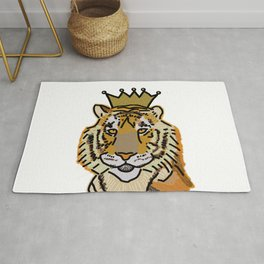 Tiger wearing Crown Rug