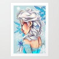 frozen elsa Art Prints featuring Elsa - Frozen by MissMachineArt