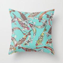 lucky koi blue Throw Pillow