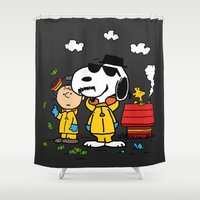 peanuts Shower Curtains featuring Breaking Peanuts by Maioriz Home