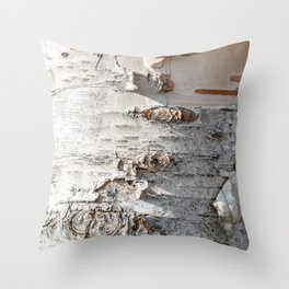Full frame of birch bark tree detailed texture in close-up Throw Pillow