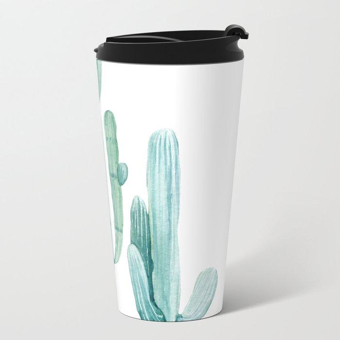 Cacti Fam Turquoise Metal Travel Mug