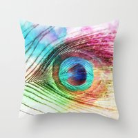 peacock feather Throw Pillows featuring Peacock Feather by Klara Acel