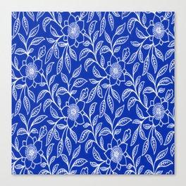 Vintage Lace Floral Sapphire Blue Canvas Print
