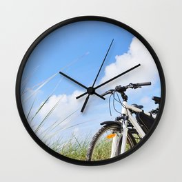 Bicycles tourists traveling in nature Wall Clock