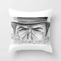clint eastwood Throw Pillows featuring Clint Eastwood by Robin Ewers