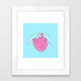 Knitting a brain Framed Art Print