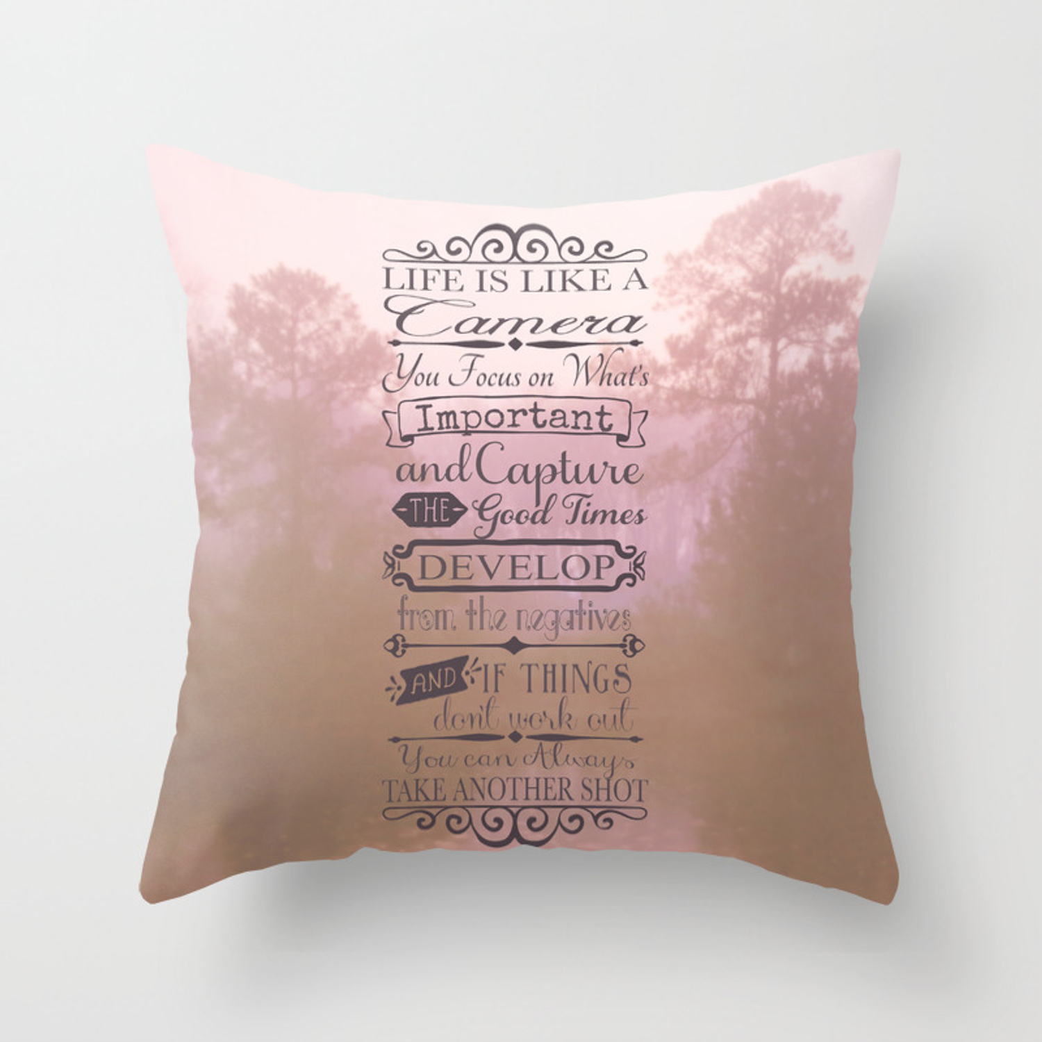 Life Is Like A Camera Throw Pillow By Tiffanydawnsmith Society6