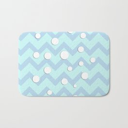 Light blue white Chevron pattern with Snowballs Bath Mat