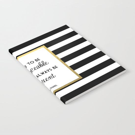 Coco Gold Irreplaceable Fashion Quote Notebook