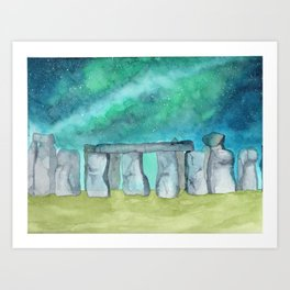 Stonehenge Galaxy watercolor Art Print