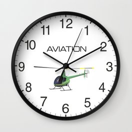 Light Green and Yellow Helicopter Wall Clock