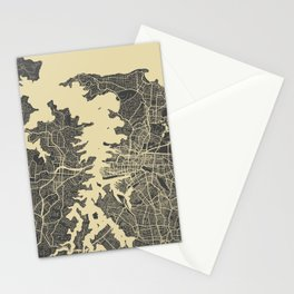 Sydney map yellow Stationery Cards