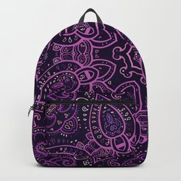 Purple Eggplant Paisley Mandala Backpack