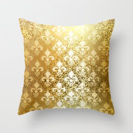 Brocade Gold Fleur de Lis Background Throw Pillow