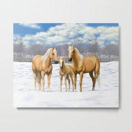 Beautiful Palomino Quarter Horses In Snow Metal Print