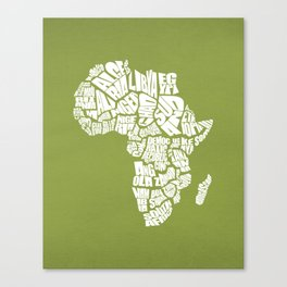 Africa Word Map - Olive and White Canvas Print
