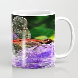Red Dragonfly on Violet Purple Flowers Coffee Mug