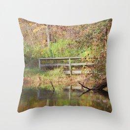 Bridge Over Oak Creek Pond Throw Pillow