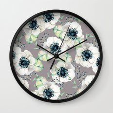 Soothing Rose Garden Gray + White Navy Wall Clock