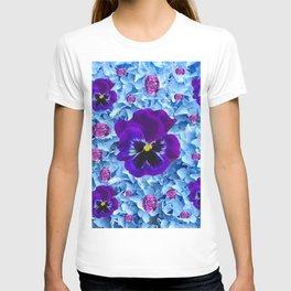 HYDRANGEAS FLORAL & PURPLE PANSIES AMETHYST GEMS T-shirt