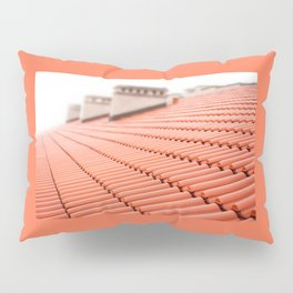 Overlapping rows of red tiles roof Pillow Sham