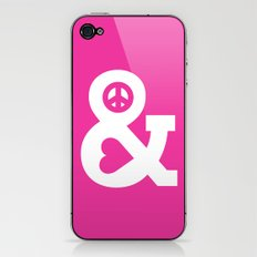 Peace and Love (pink edition) iPhone & iPod Skin