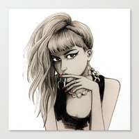 grimes Canvas Prints featuring Grimes by Justine Lecouffe