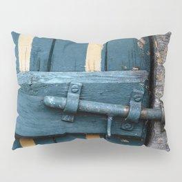 Old blue wooden farm doors Pillow Sham