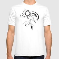 Wanderlust pen and ink drawing Mountains, Moon, Sun, Ocean Waves Mens Fitted Tee White MEDIUM