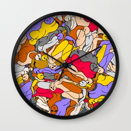 Sleepy Heads - Ruby Violet Gold Wall Clock
