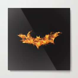 Super Hero on Fire Metal Print