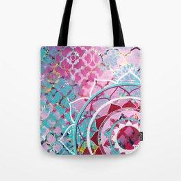 Pink and Turquoise Mixed Media Mandala Tote Bag