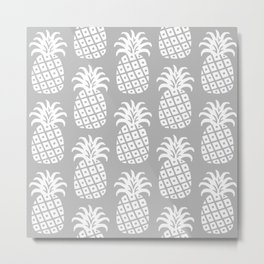 Retro Mid Century Modern Pineapple Pattern Gray 2 Metal Print