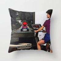 mario kart Throw Pillows featuring Retro Mario Kart by Woah Jonny