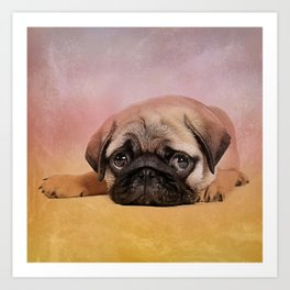 Pug puppy  Digital Art Art Print