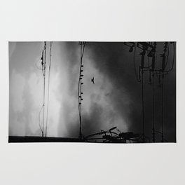 Black and White Birds on a Wire Rug