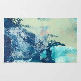 Letting Go: an abstract mixed-media piece in blues and greens by Alyssa Hamilton Art Rug