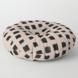 Polka Strokes - Black on Nude Floor Pillow