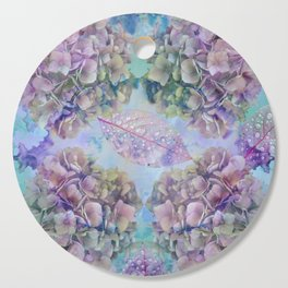 Watercolor hydrangeas and leaves Cutting Board