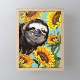 Sloth with Sunflowers Framed Mini Art Print