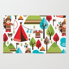 Cute indian haunting illustration pattern Rug