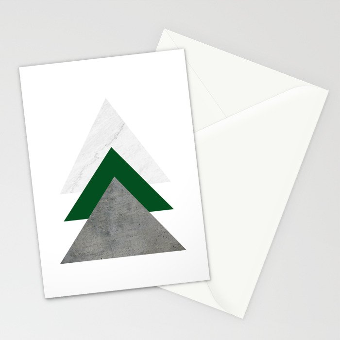 Marble Green Concrete Arrows Collage Stationery Cards