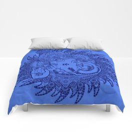 Ganesha Lineart Blue Comforters