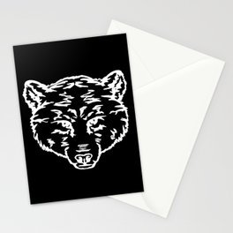 Outlines bear head, predators Stationery Cards