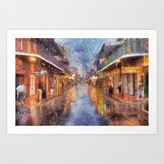 Bourbon Rain Reflections Art Print