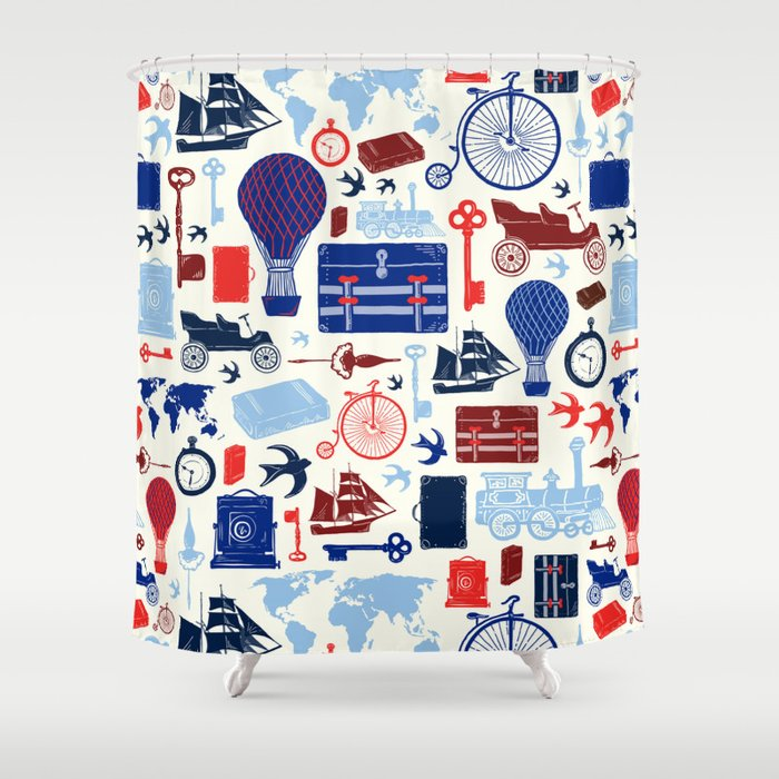 All Aboard to Explore Our Marvelous World - Vintage Travel from the Victorian Era Shower Curtain